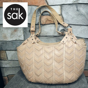 The Sak Leather Taupe Chevron Pattern Tote Bag